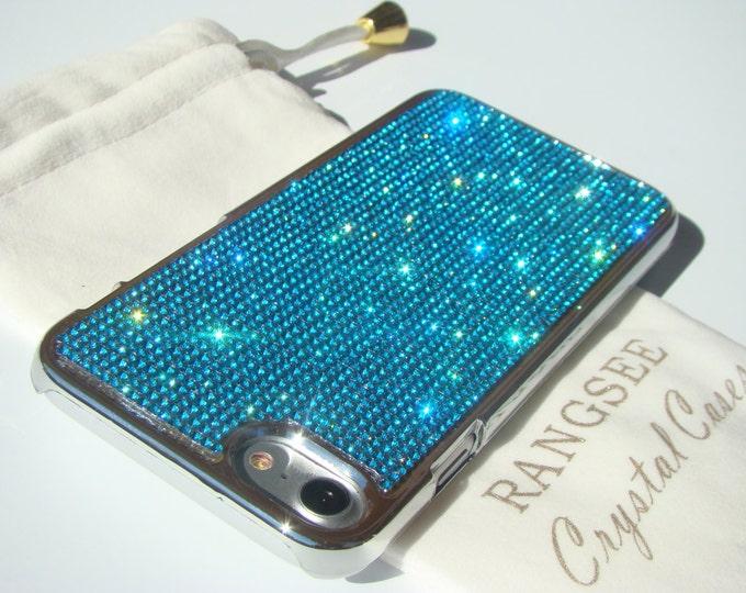iPhone SE Case New 2020 Second Generation / iPhone 8 Case / iPhone 7 Case Aquamarine Dark Rhinstones Crystals on  Silver Chrome Case.
