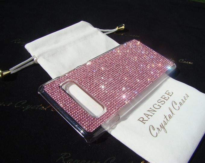 Galaxy S10 Plus case Pink Diamond Rhinestone Crystals on Transparent Clear Hard PC Case.