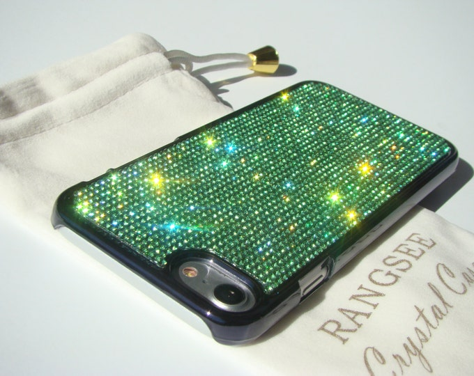 iPhone SE Case New 2020 Second Generation / iPhone 8 Case / iPhone 7 Case Green Peridot Rhinestone Crystals on  Black Chrome Case.