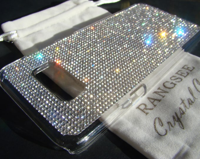 Galaxy s8 Plus Case / Galaxy s8+ Case,  Clear Rhinestone Crystals on Transparent clear  Case. Velvet/Silk Pouch Bag Included,