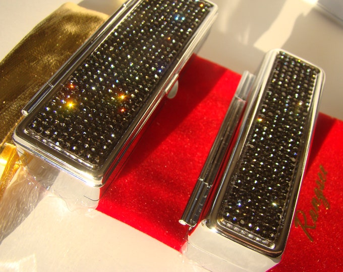 Lipstick Case with Mirror, Lipstick Box, Lipstick Holder, Black Diamond Rhinestone Crystals