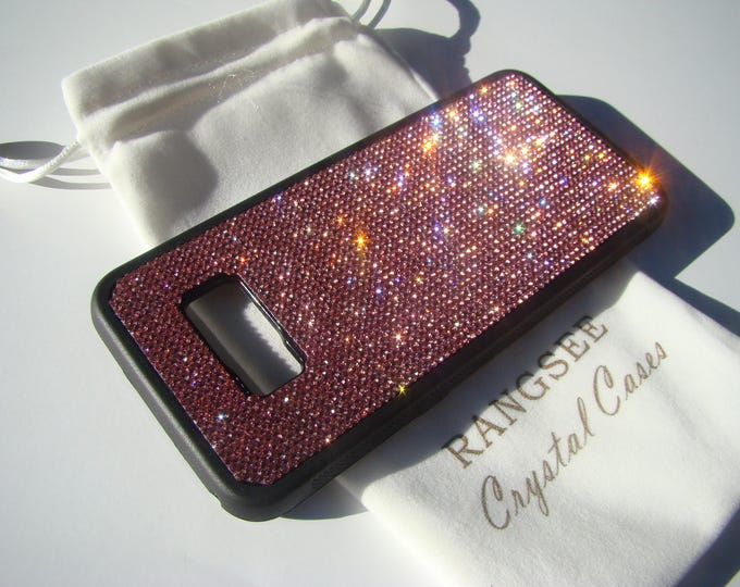 Sale Galaxy s8 Plus Case / Galaxy s8+ Case,  Pink Rose Crystals on Black Rubber Case.