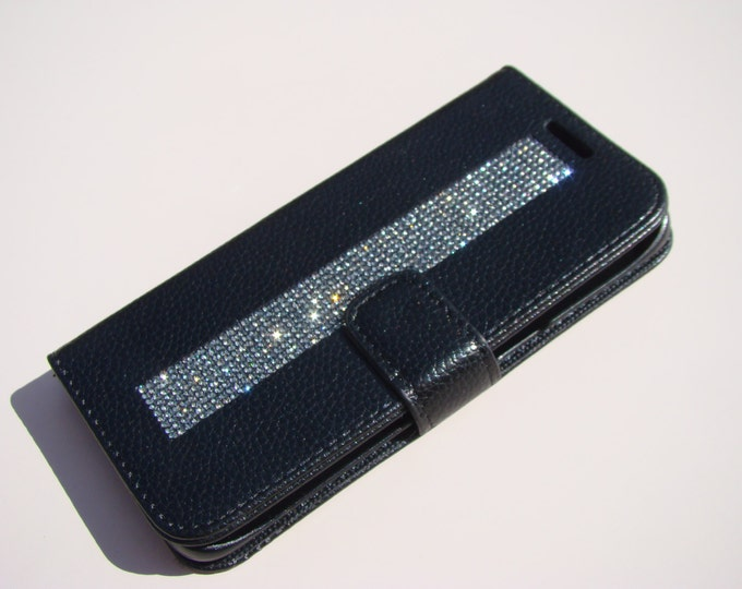 Galaxy S7 Edge Wallet Black Diamond Rhinestone Crystals on Black Wallet Case. Velvet/Silk Pouch bag Included, Genuine Rangsee Crystal Cases.
