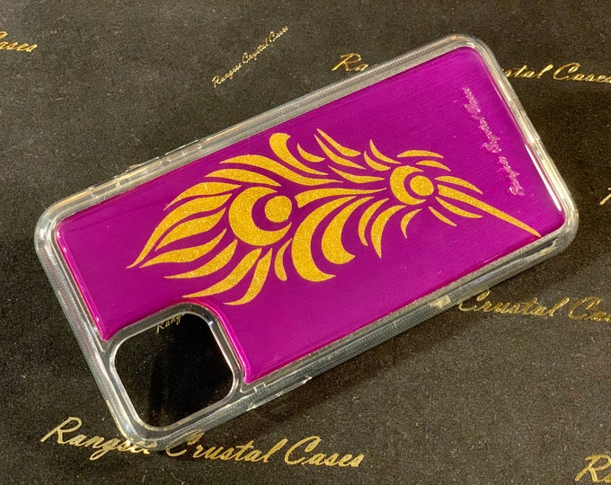 iPhone 11 Case, iPhone 11 Pro case, iPhone 11 Pro Max case,  Gold Peacock Limited Edition  Clear PC/TPU rubber Case