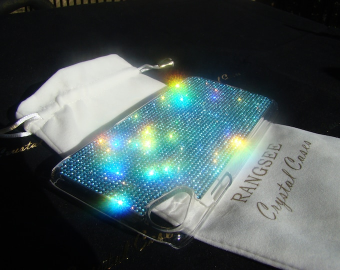 iPhone XR Case Aquamarine Blue Rhinestone Crystals on Transparent Clear iPhone XR Case. 14 crystal Colors avalible. Velvet Pouch Included,