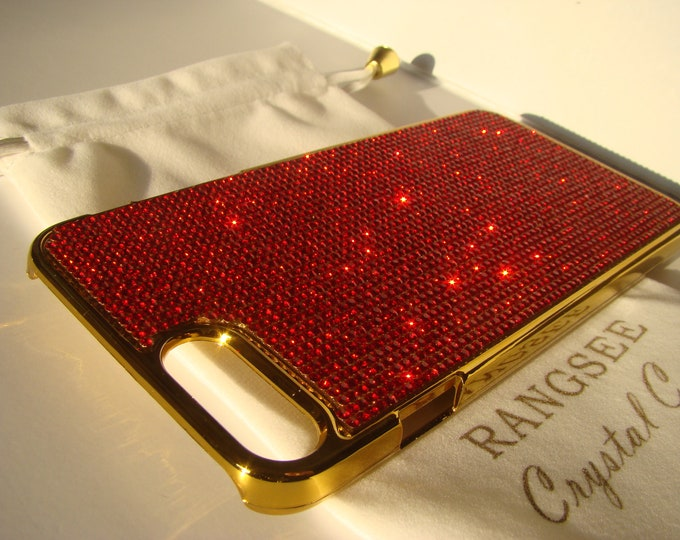 """iPhone 8 plus case / iPhone 7 plus Case Red Siam """" Gold Edition """"  Rhinestone Crystals on Gold Chrome Case. Velvet Pouch Included,"""