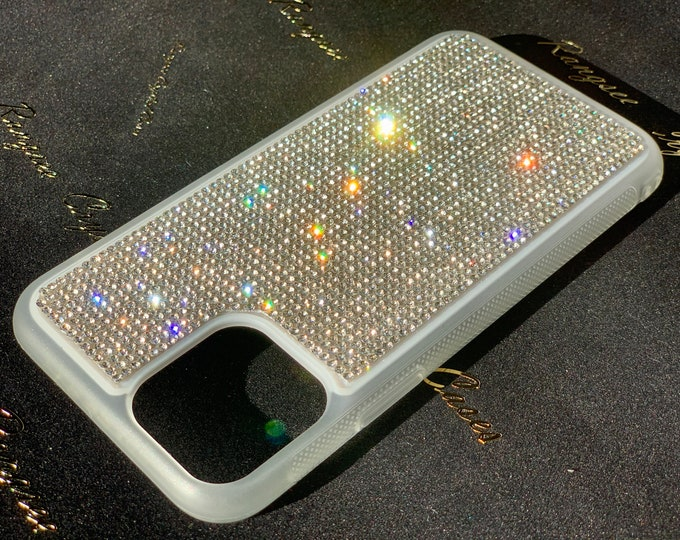 """iPhone 11 Case """" White Edition""""  iPhone 11 Pro Case, iPhone 11 Pro Max Case,  XS, XR , Rhinestone Crystals on White Tpu Rubber Case, Rangsee"""