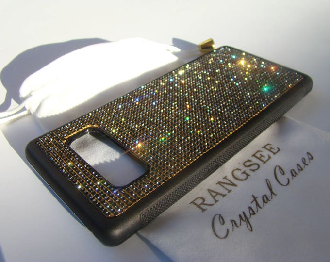 """Galaxy Note 8 Black Diamond Rhinestone Crystal """"Gold Edition"""" on Black Rubber Velvet/Silk Pouch Bag Included, Genuine Rangsee Crystal Cases."""