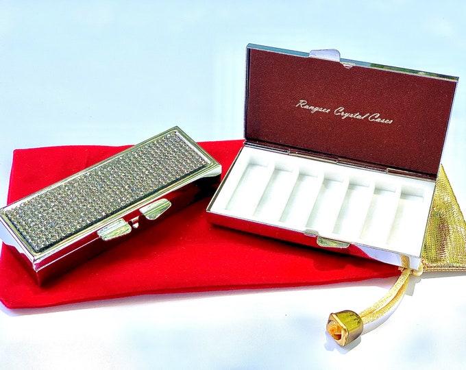 Pill Case, Pill Box , Pill Container , Clear Diamond Rhinestone Crystal Pill Case