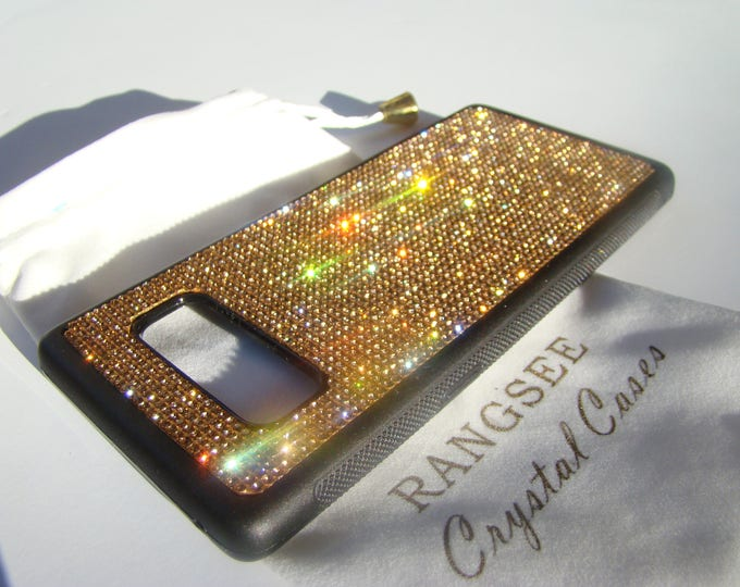 Galaxy Note 8 Case Gold Topaz Rhinestone Crystals on Black Rubber Note 8 Case Velvet/Silk Pouch Bag Included, Genuine Rangsee Crystal Cases.
