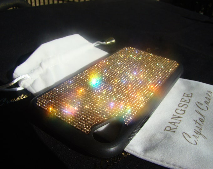 iPhone XR Case , Gold Topaz Rhinestone Crystals on Black Rubber iPhone XR Case. Velvet/Silk Pouch Bag Included, .