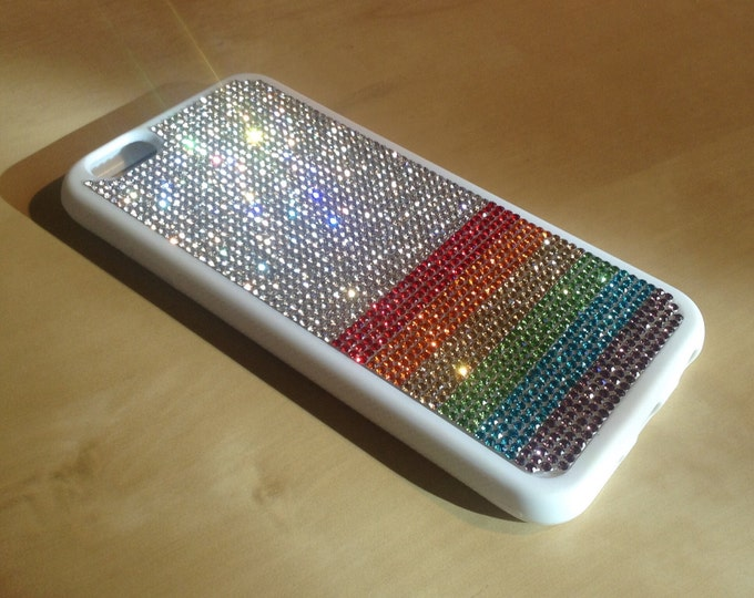 """iPhone 6 / 6s  4.7"""" Rainbow  """" PRIDE """" Rhinestone Crystals White Rubber Case. Velvet/Silk Pouch Bag Included, Genuine Rangsee Crystal Cases"""