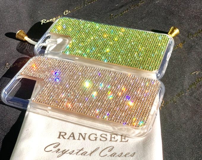 "iPhone 11 Case, iPhone 11 Pro case, iPhone 11 Pro Max case,  Green Peridot  Rhinestone crystals Clear PC/TPU rubber Case, "" Gold Edition """