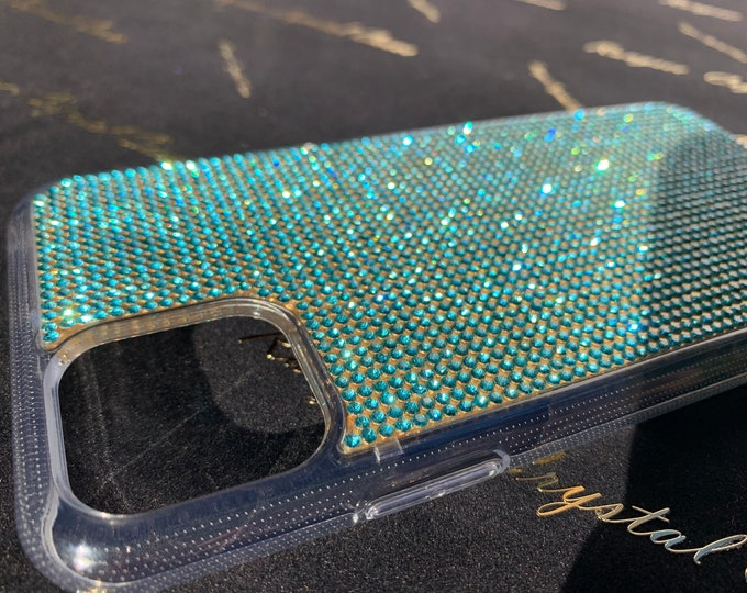 "iPhone 11 Case, iPhone 11 Pro case, iPhone 11 Pro Max case,  Aqua light  Rhinestone crystals Clear PC/TPU rubber Case, "" Gold Edition """