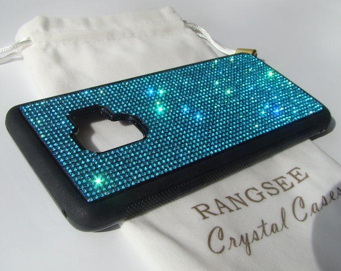 Galaxy s9 Case,  Aquamarine Blue( Dark) Rhinestone Crystals on Black Rubber Case. Velvet/Silk Pouch Bag Included,