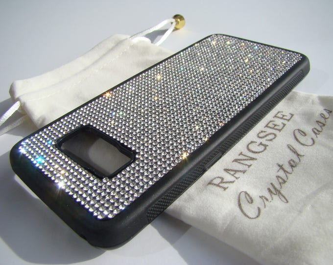 Galaxy S8 Clear Rhinestone Crystals on Black Rubber Case. Velvet/Silk Pouch Bag Included, Genuine Rangsee Crystal Cases.