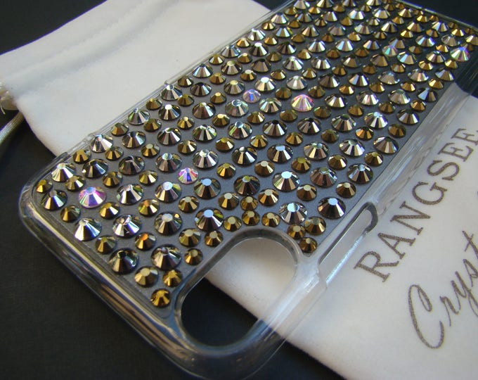 """iPhone X case, """" Millionaire Case """" Gold, Silver, Bronze & Crystal AB Crystals on Clear Rangsee Crystal Cases"""