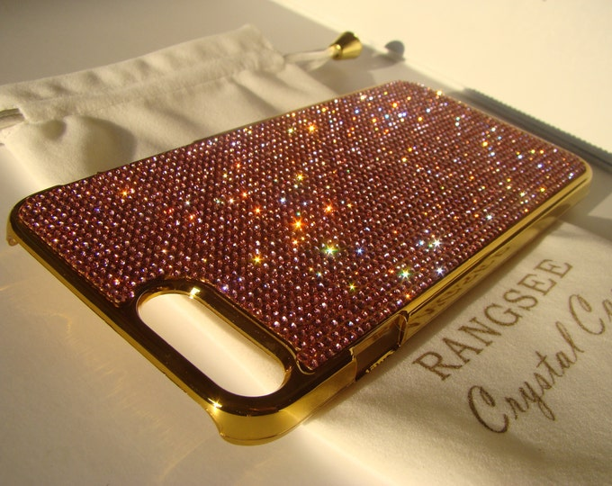 """iPhone 8 plus case / iPhone 7 plus Case Pink Rose Diamond """" Gold Edition """"  Rhinestone Crystals on Gold Chrome Case. Velvet Pouch Included,"""