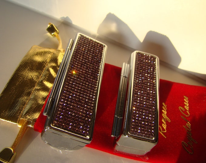Lipstick Case with Mirror, Lipstick Box, Lipstick Holder, Purple Amethyst ( Light ) Rhinestone Crystals
