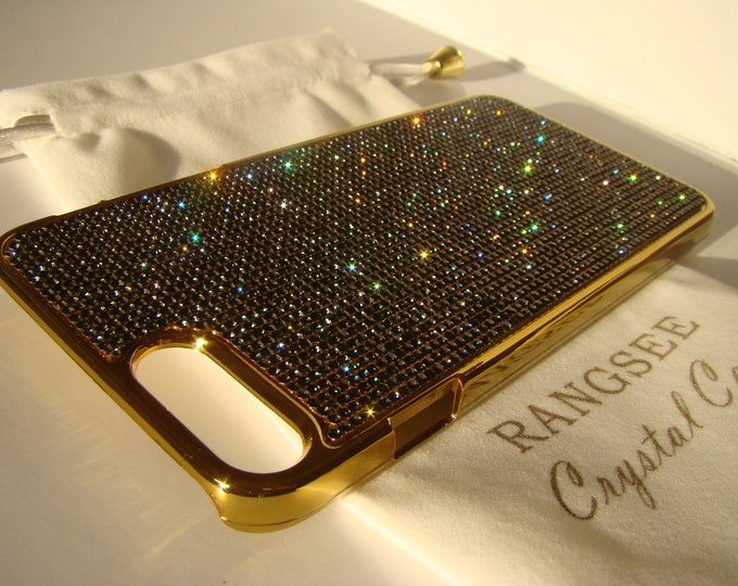 """iPhone 8 plus case / iPhone 7 plus Case Black Diamond  """" Gold Edition """"  Rhinestone Crystals on Gold Chrome Case. Velvet Pouch Included,"""