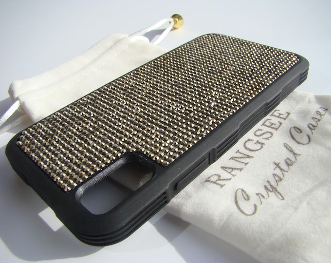 """iPhone Xs  Case , Gold Dorado Rhinestone Crystals on Black """"Tire"""" Rubber Case. Velvet/Silk Pouch Bag Included, ."""