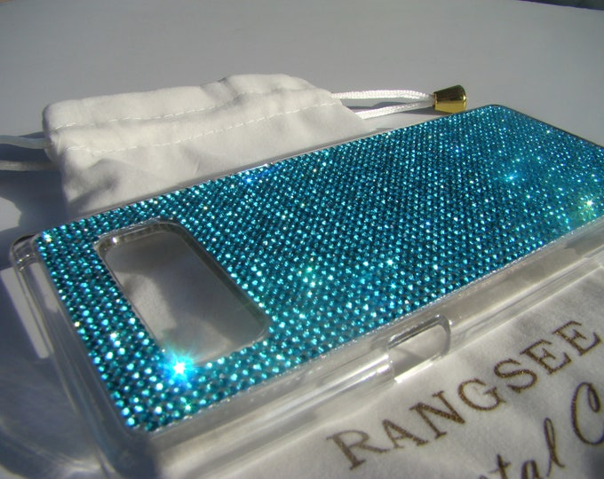 Galaxy Note 8 Case Aquamarine Blue Crystals on Clear Transparent Case. Velvet/Silk Pouch Bag Included, Genuine Rangsee Crystal Cases.