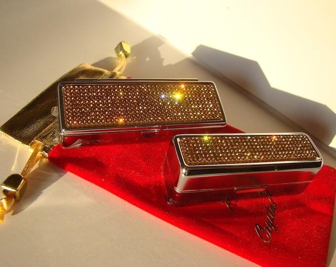 Lipstick Case with Mirror, Lipstick Box, Lipstick Holder, Gold Topaz Rhinestone Crystals