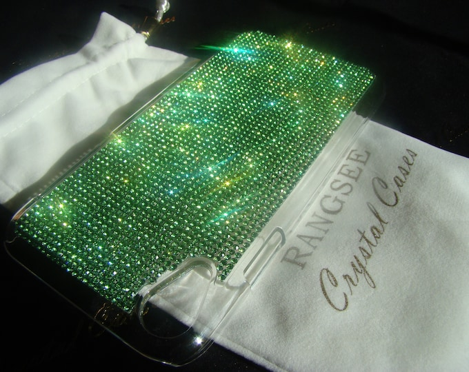 iPhone XR Case Green Peridot Rhinestone Crystals on Transparent Clear iPhone XR Case. 14 crystal Colors avalible. Velvet Pouch Included,