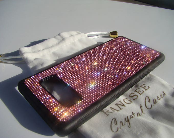 Galaxy Note 8 Case Pink Rose Rhinestone Crystals on Black Rubber Note 8 Case. Velvet/Silk Pouch Bag Included, Genuine Rangsee Crystal Cases.