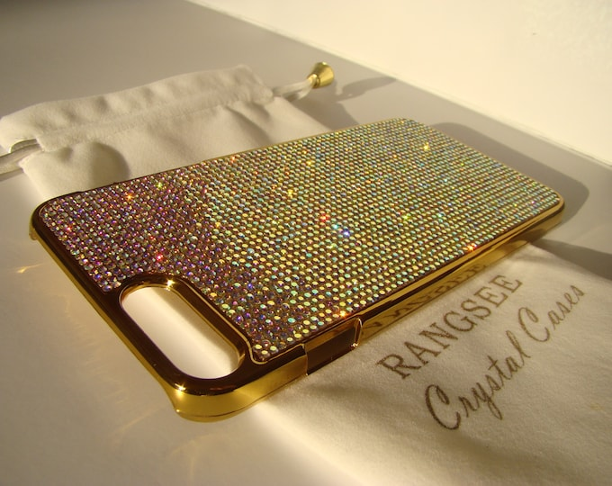 """iPhone 8 plus case / iPhone 7 plus Case Crystal AB """" Gold Edition """"  Rhinestone Crystals on Gold Chrome Case. Velvet Pouch Included,"""