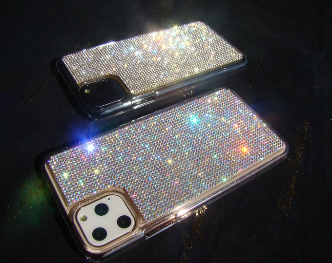 iPhone 11 Case, iPhone 11 Pro Case, iPhone 11 Pro Max Case,  XS, XR, Rhinestone Crystals on Transparent Clear Case, Rangsee Crystal Cases