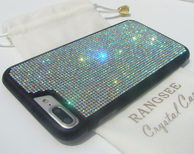 iPhone 8 Plus Case / iPhone 7 Plus Crystal AB  Rhinestone Crystals on Black Rubber Case. Velvet/Silk Pouch Bag Included, .