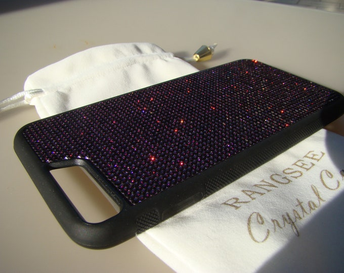 "iPhone 8 Plus Case / iPhone 7 Plus ""Dark Purple"" Amethyst Rhinestone Crystal on Black Rubber Velvet/Silk Pouch Bag Included, ."