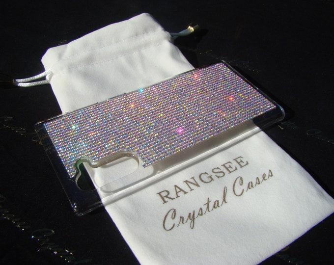 Galaxy Note 9 Case, Galaxy Note 10, Note 10+ Case Crystal AB Rhinestone Crystals Black Rubber Genuine Rangsee Crystal Cases