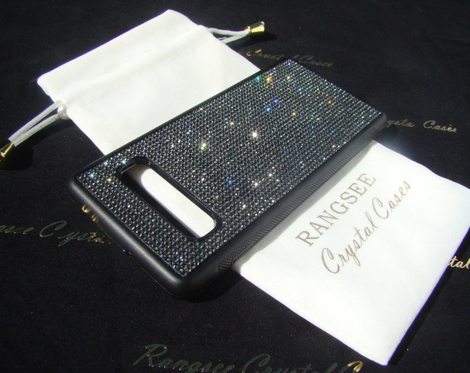 Galaxy S10, Galaxy S10e, Galaxy S10 Plus Black Diamond Rhinestone Crystals on Black TPU Rubber Case. 14 crystal Colors avalible.