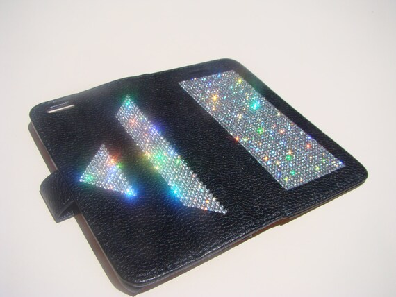 "iPhone 6 / 6s 4.7"" Clear Diamond Crystals on Black Wallet Case Art Pyramide.  Velvet/Silk Pouch bag Included, Genuine Rangsee Crystal Cases."