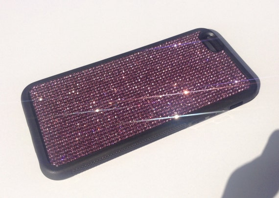 """iPhone 6 / 6s 4.7 """" Purple Amethyst Crystals on Black Rubber Case. Velvet/Silk Pouch Bag Included, Genuine Rangsee Crystal Cases"""
