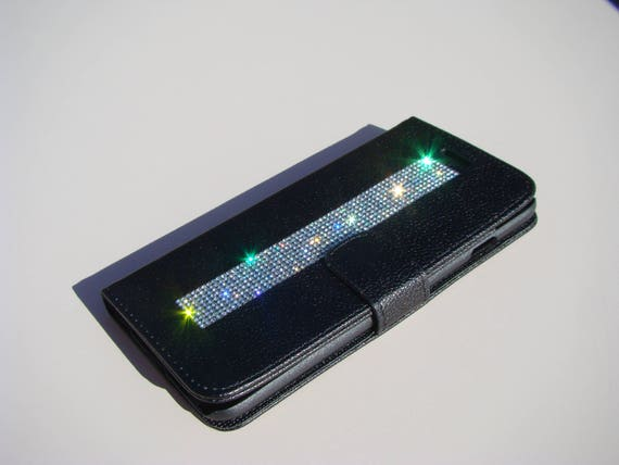 iPhone 8 Plus Wallet / iPhone 7 Plus Wallet Clear Diamond Rhinestone Crystals on Black Wallet Case. Velvet/Silk Pouch bag Included, .