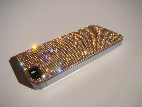 iPhone 5/5s/5se Rose Gold Rhinestone Crystals on Transparent Case. Velvet/Silk Pouch Bag Included, Genuine Rangsee Crystal Cases