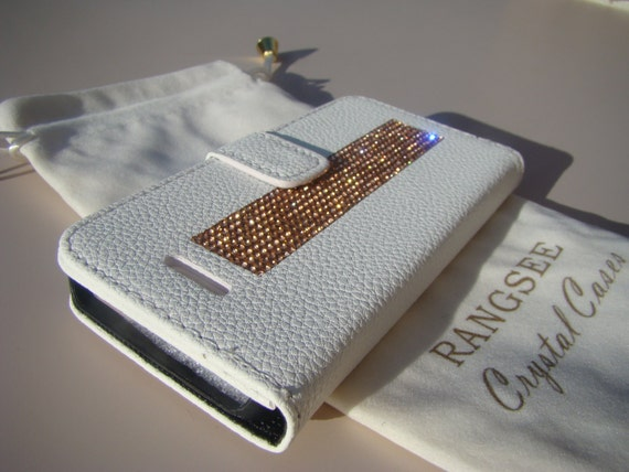 iPhone SE Case /5/ 5s Rose Gold Rhinestone Crystals on White Wallet Case. Velvet/Silk Pouch bag Included, Genuine Rangsee Crystal Cases.