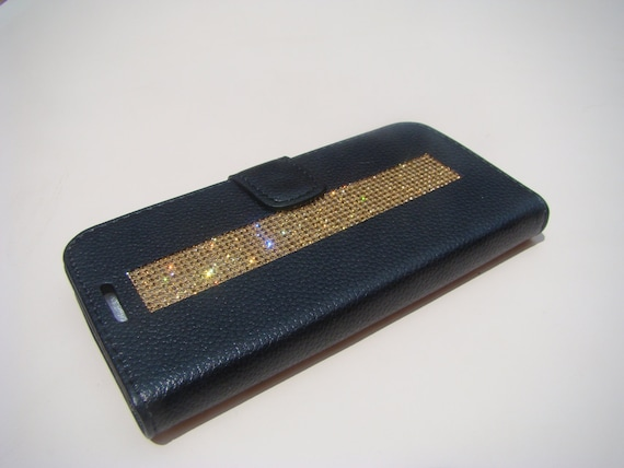 Galaxy S7 Edge Wallet Case Gold Topaz Rhinestone Crystals Black Wallet Case. Velvet/Silk Pouch bag Included, Genuine Rangsee Crystal Cases.