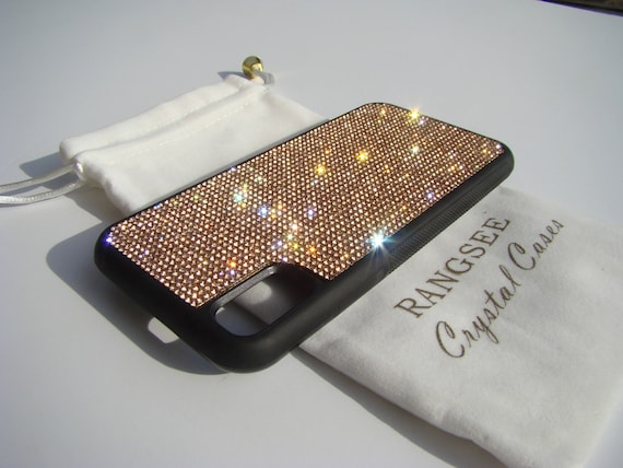 iPhone X Case , Rose Gold Rhinestone Crystals on Black Rubber Case. Velvet/Silk Pouch Bag Included, .