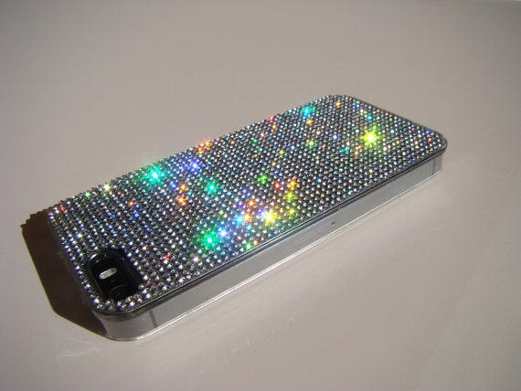 iPhone 5/5s/5se Clear Diamond Rhinestone Crystals on Transparent Case. Velvet/Silk Pouch Bag Included, Genuine Rangsee Crystal Cases.