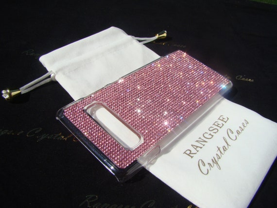 Galaxy S10 Plus case Pink Diamond Rhinestone Crystals on Transparent Clear Hard PC Case.