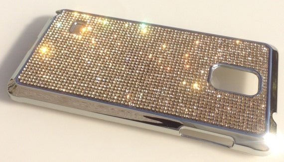 Galaxy Note 4 Gold Topaz Rhinestone Crystals on Silver Chrome Case. Velvet/Silk Pouch Bag Included, Genuine Rangsee Crystal Cases.