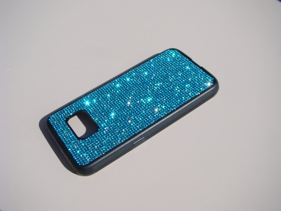 Samsung Galaxy S7 Case Aquamarine Blue Rhinestone Crystals on Black Rubber Case. Velvet/Silk Pouch Bag Included, Genuine
