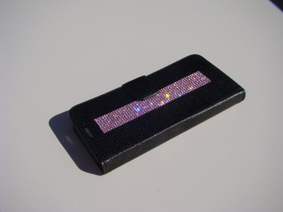 """Galaxy S6  """" Edge """" Pink Rhinestone Crystals on Black Wallet Case. Velvet/Silk Pouch bag Included, Genuine Rangsee Crystal Cases."""