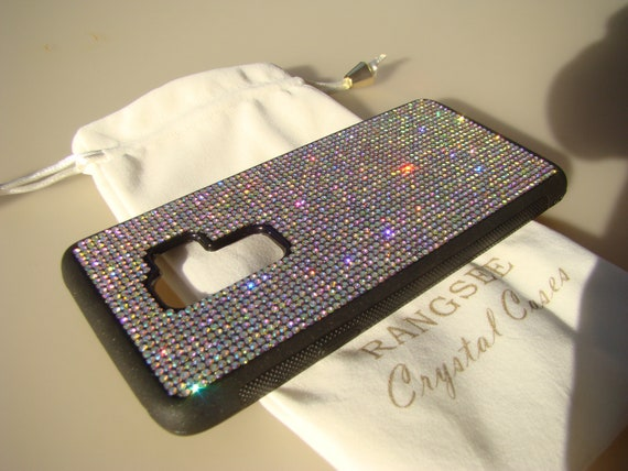 Galaxy s9 Plus Case,  Crystal AB Rhinestone Crystals on Black Rubber Case. Velvet/Silk Pouch Bag Included,