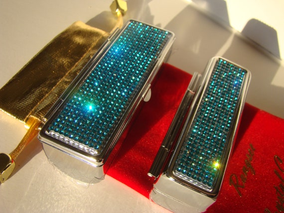 Lipstick Case with Mirror, Lipstick Box, Lipstick Holder, Aquamarine Blue Rhinestone Crystals,  This listing are for one (1) case