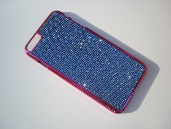 iPhone 6 Plus / 6s Plus Blue Sapphire Rhinestone Crystals, Pink Chrome Case. Velvet/Silk Pouch Bag Included, Genuine Rangsee Crystal Cases.